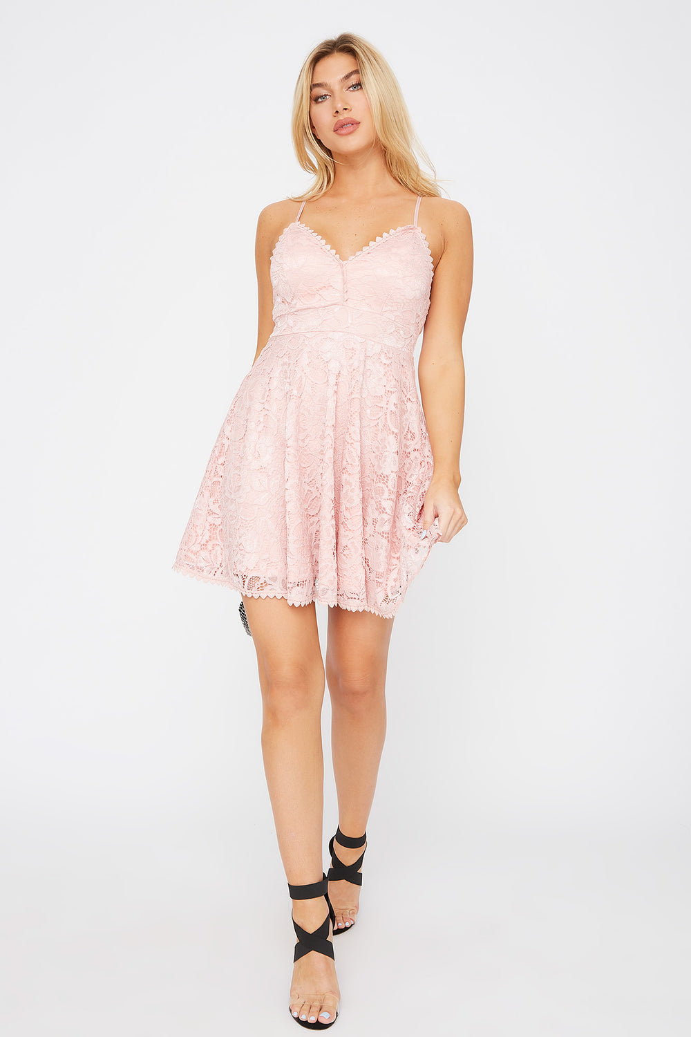 Lace Scallop Skater Dress Rose