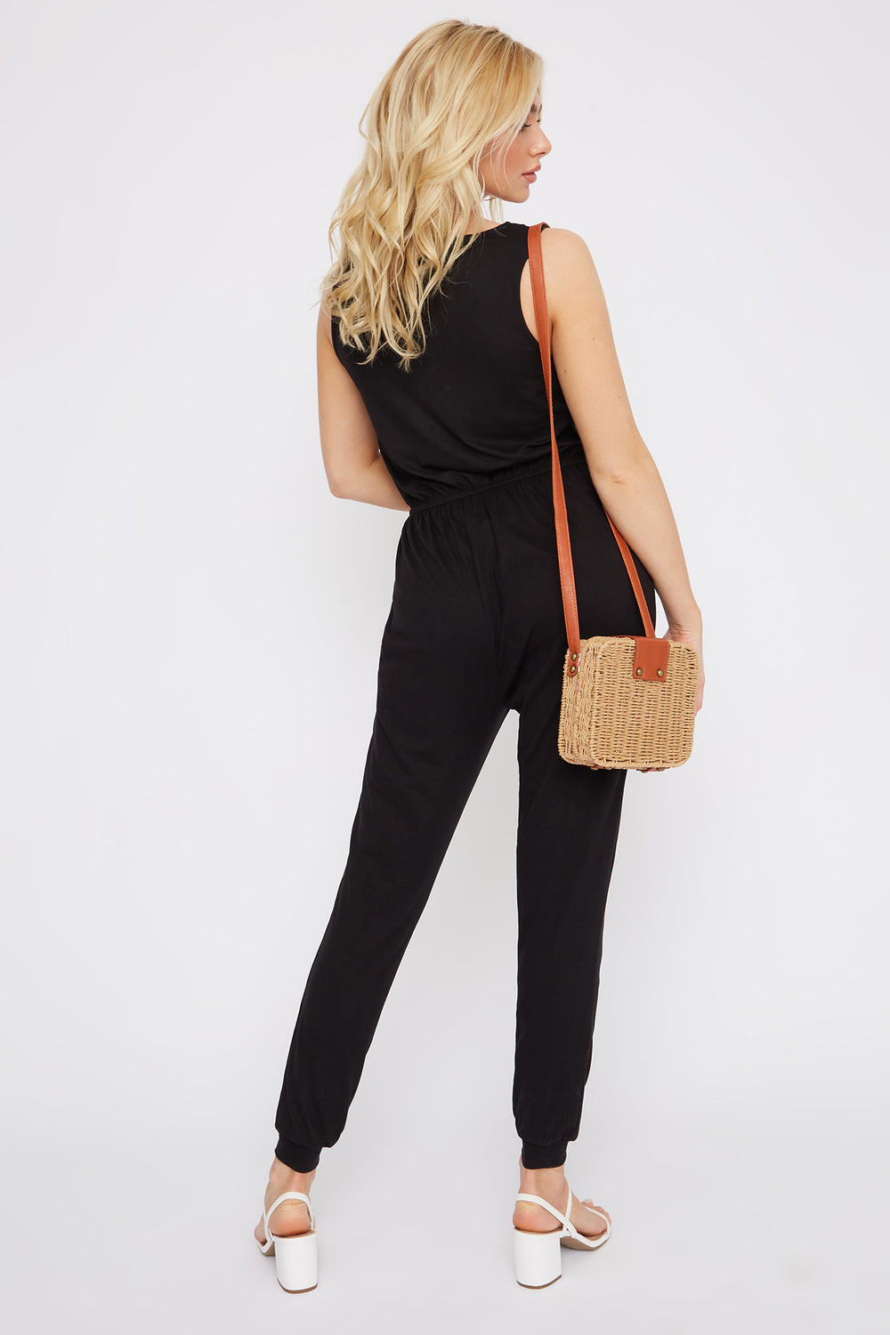 Soft Half Zip Jumpsuit Black