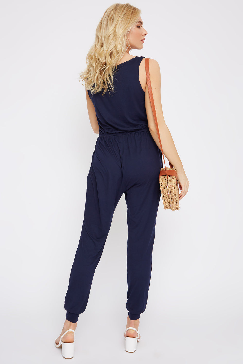 Soft Half Zip Jumpsuit Navy