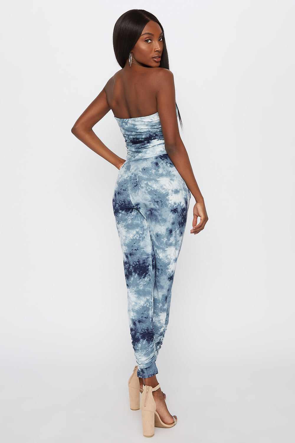 Soft Tie Dye Strapless Ruched Jumpsuit Blue