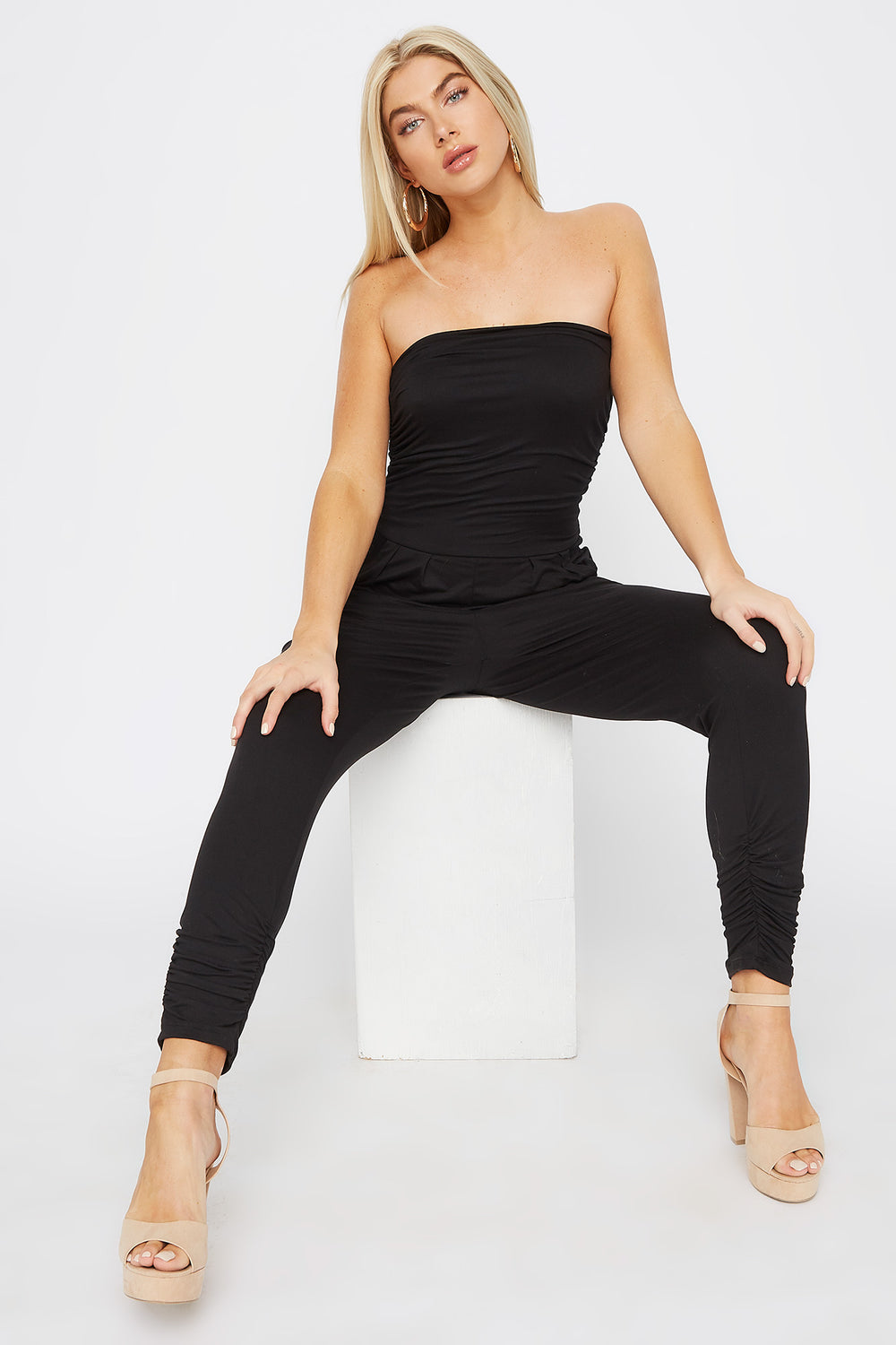 Soft Strapless Ruched Jumpsuit Black