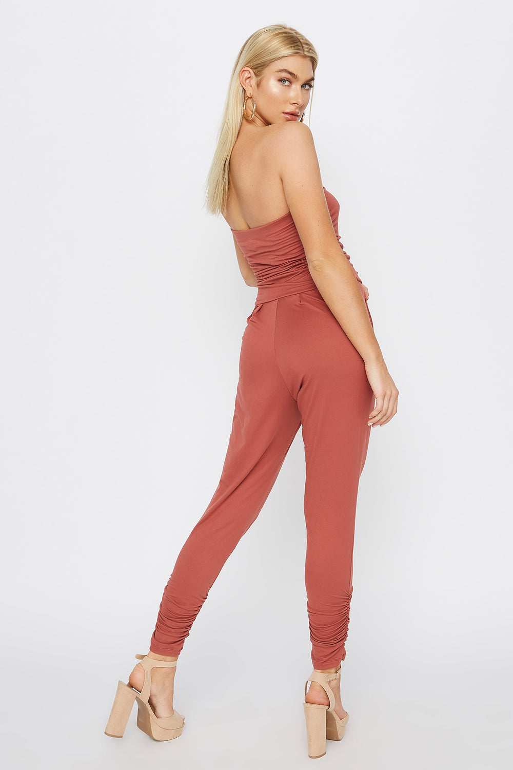 Soft Strapless Ruched Jumpsuit Rust