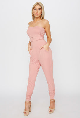 Soft Strapless Ruched Jumpsuit