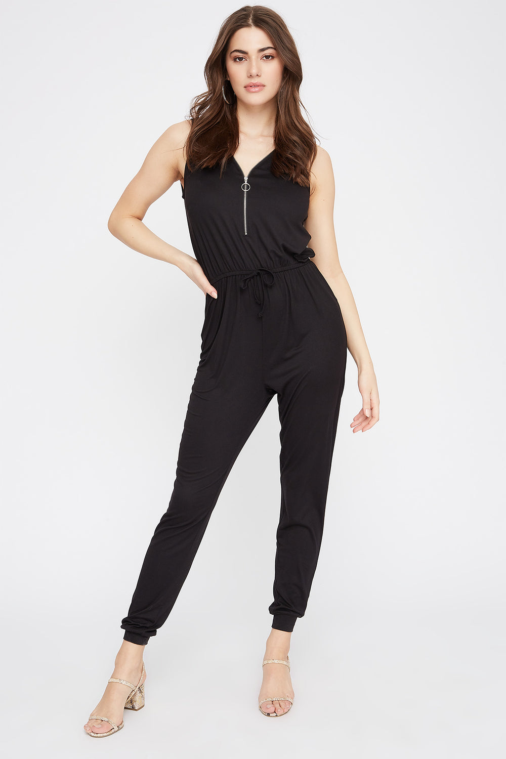 Soft Half-Zip Drawstring Jumpsuit Black