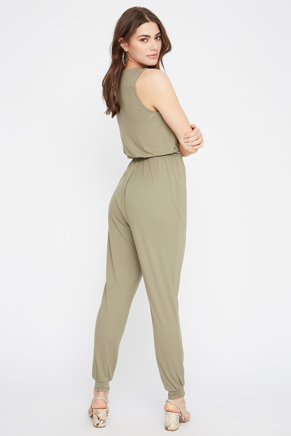 Soft Half-Zip Drawstring Jumpsuit Dark Green