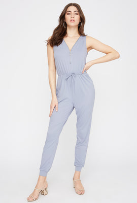 Soft Half-Zip Drawstring Jumpsuit