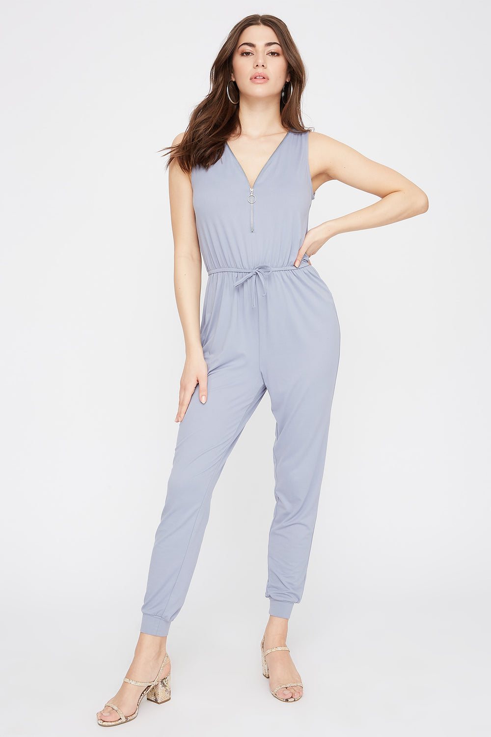 Soft Half-Zip Drawstring Jumpsuit Blue