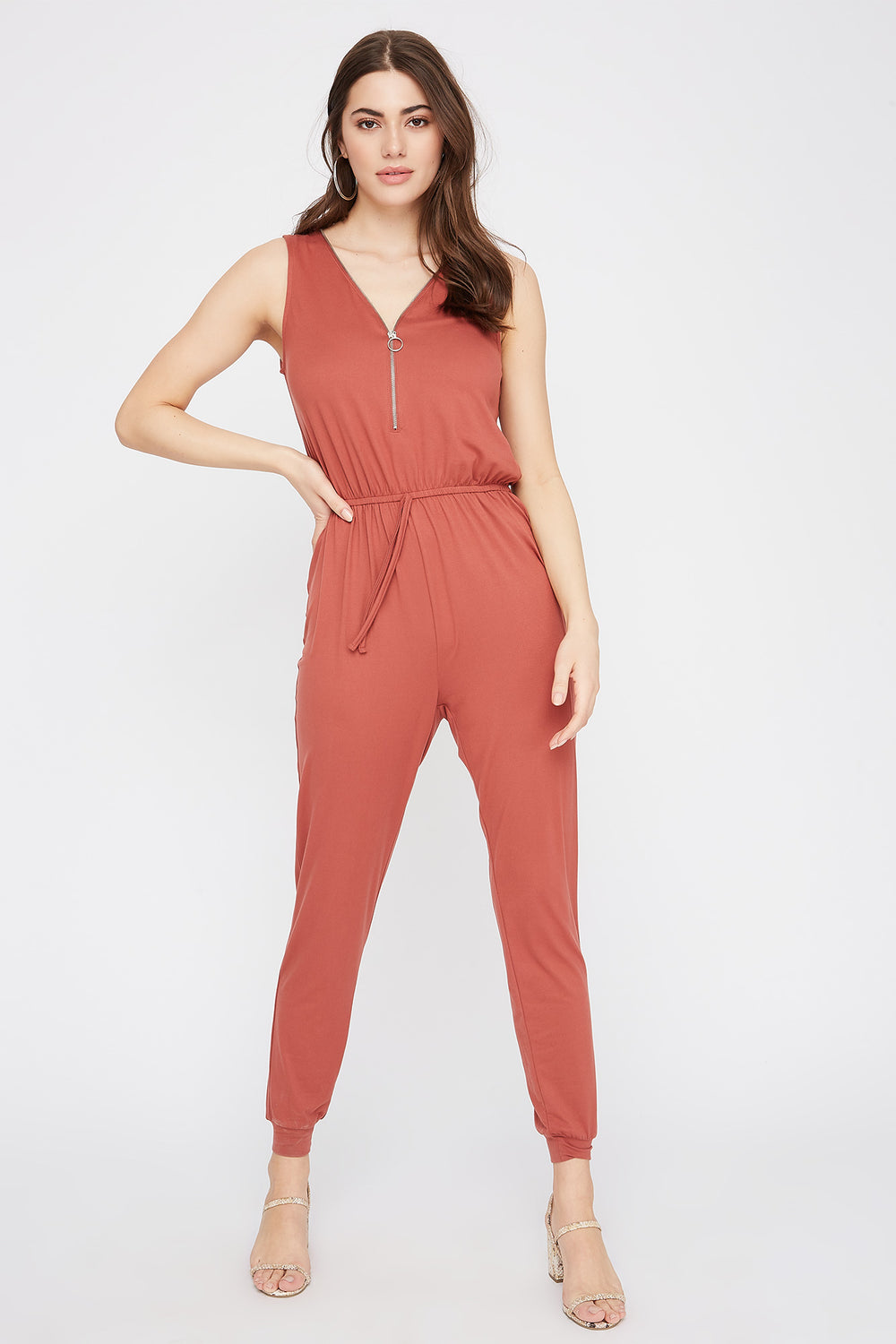 Soft Half-Zip Drawstring Jumpsuit Rust