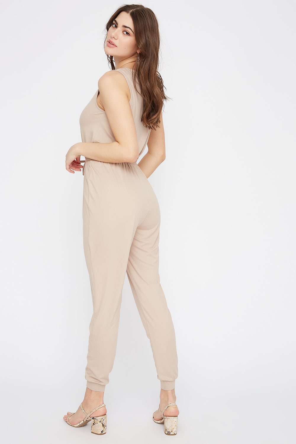 Soft Half-Zip Drawstring Jumpsuit Taupe