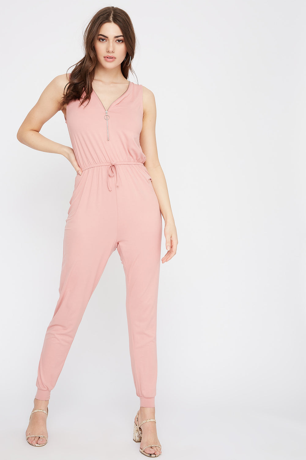 Soft Half-Zip Drawstring Jumpsuit Light Pink