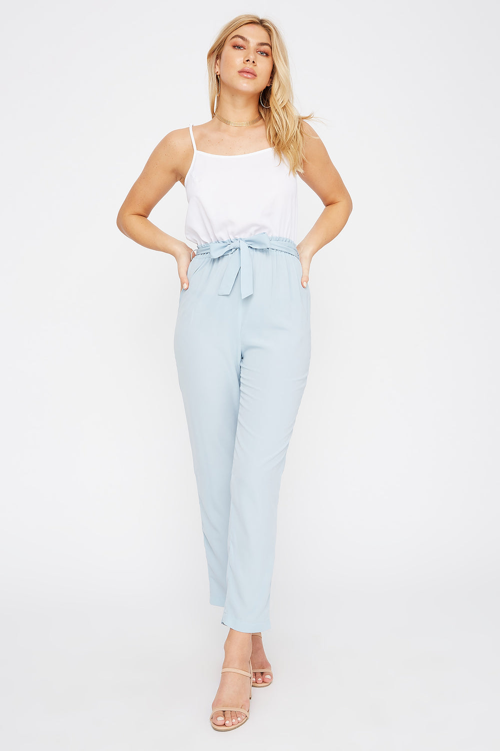 Contrast Scoop Neck Cami Jumpsuit Baby Blue