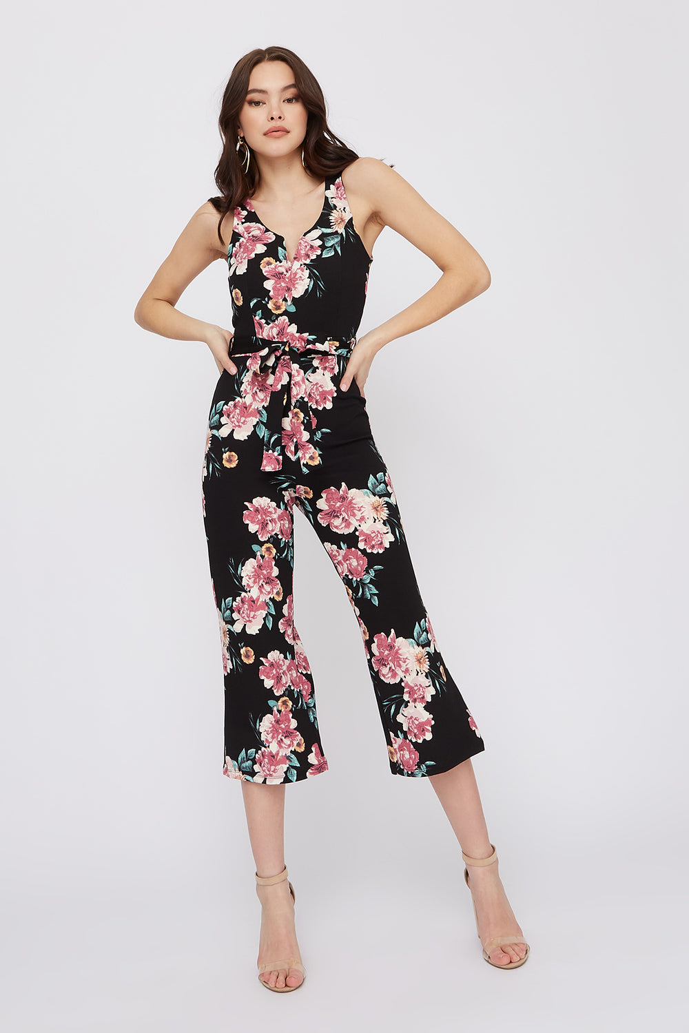 Floral Notch Neck Culotte Jumpsuit Black