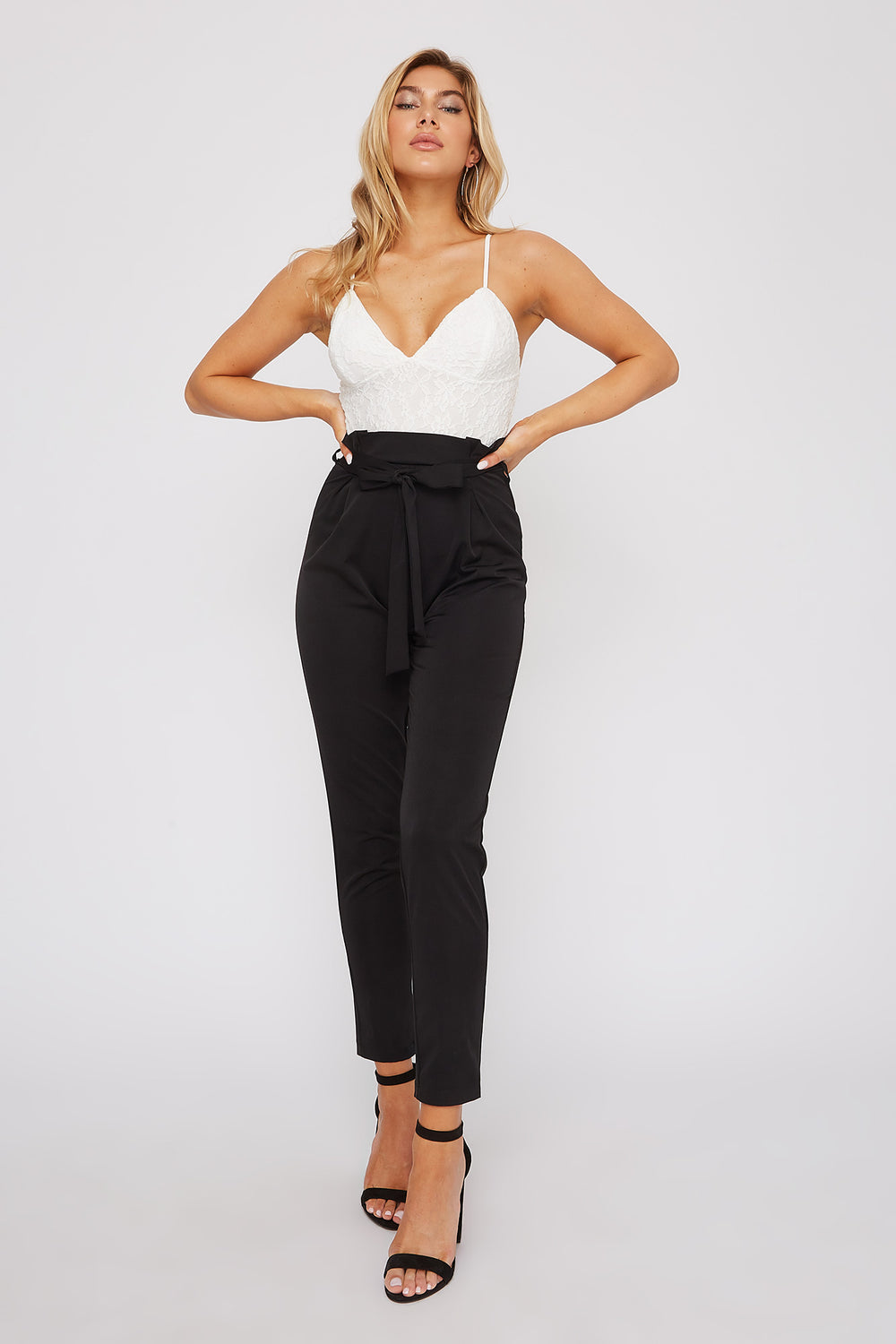 Lace Contrast Straight Leg Jumpsuit Black