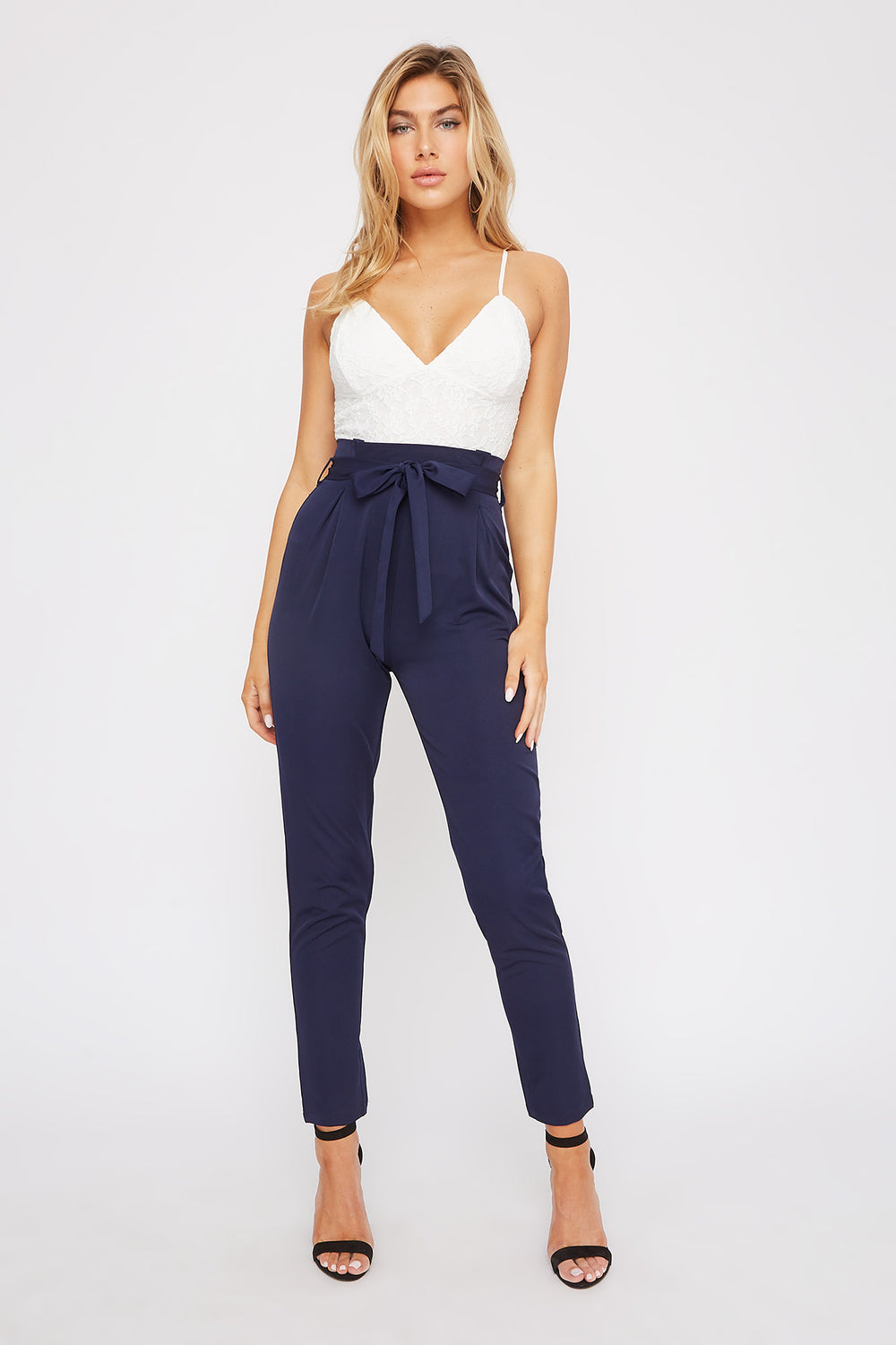Lace Contrast Straight Leg Jumpsuit Navy