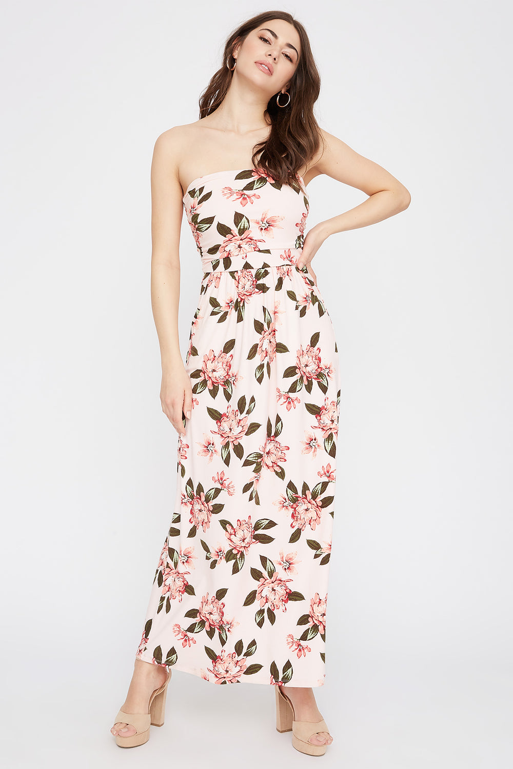 Strapless Floral Pocket Maxi Dress Dusty Rose