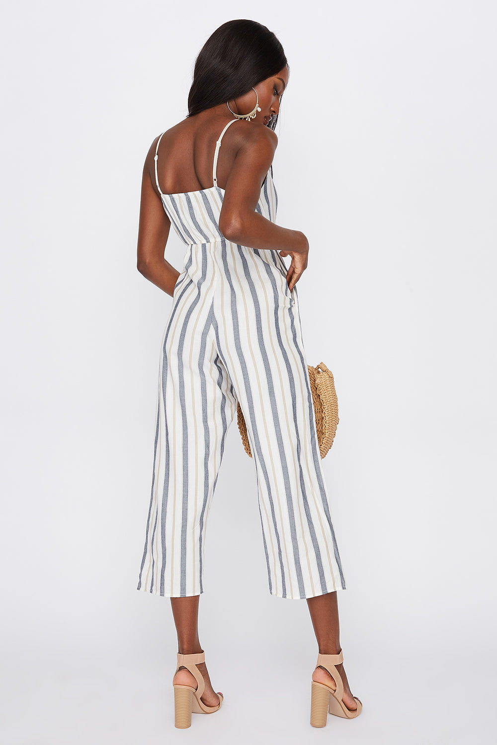 Striped Button-Up Cami Jumpsuit White