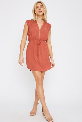 Half-Zip Shirt Dress