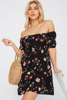 Floral Off The Shoulder Smocked Skater Dress