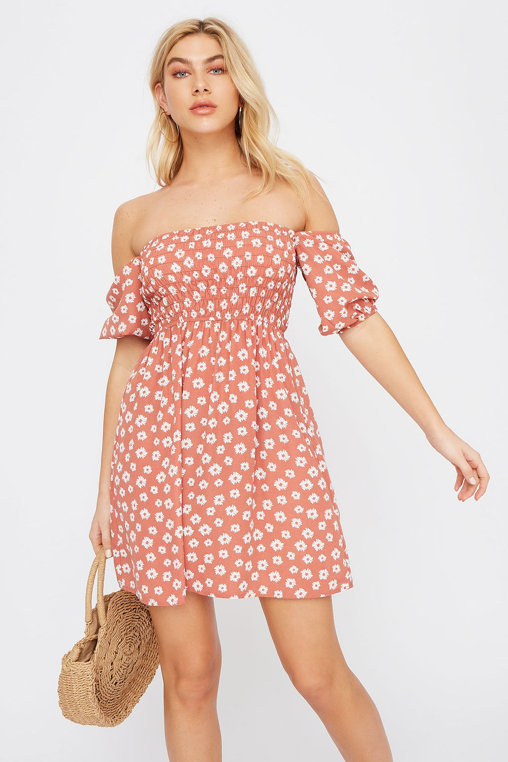 Floral Off The Shoulder Smocked Skater Dress Rust