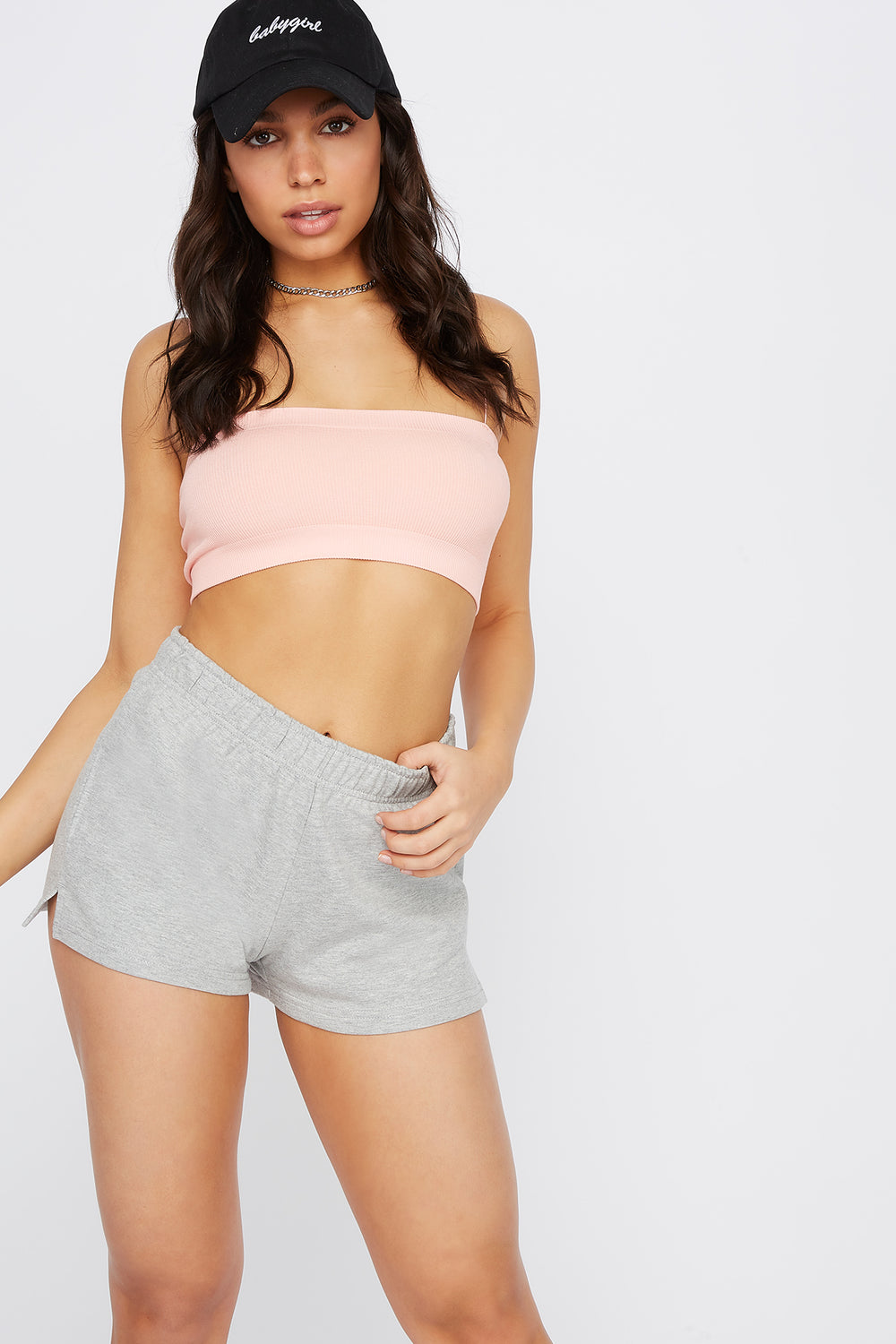 High-Rise Fleece Short Heather Grey