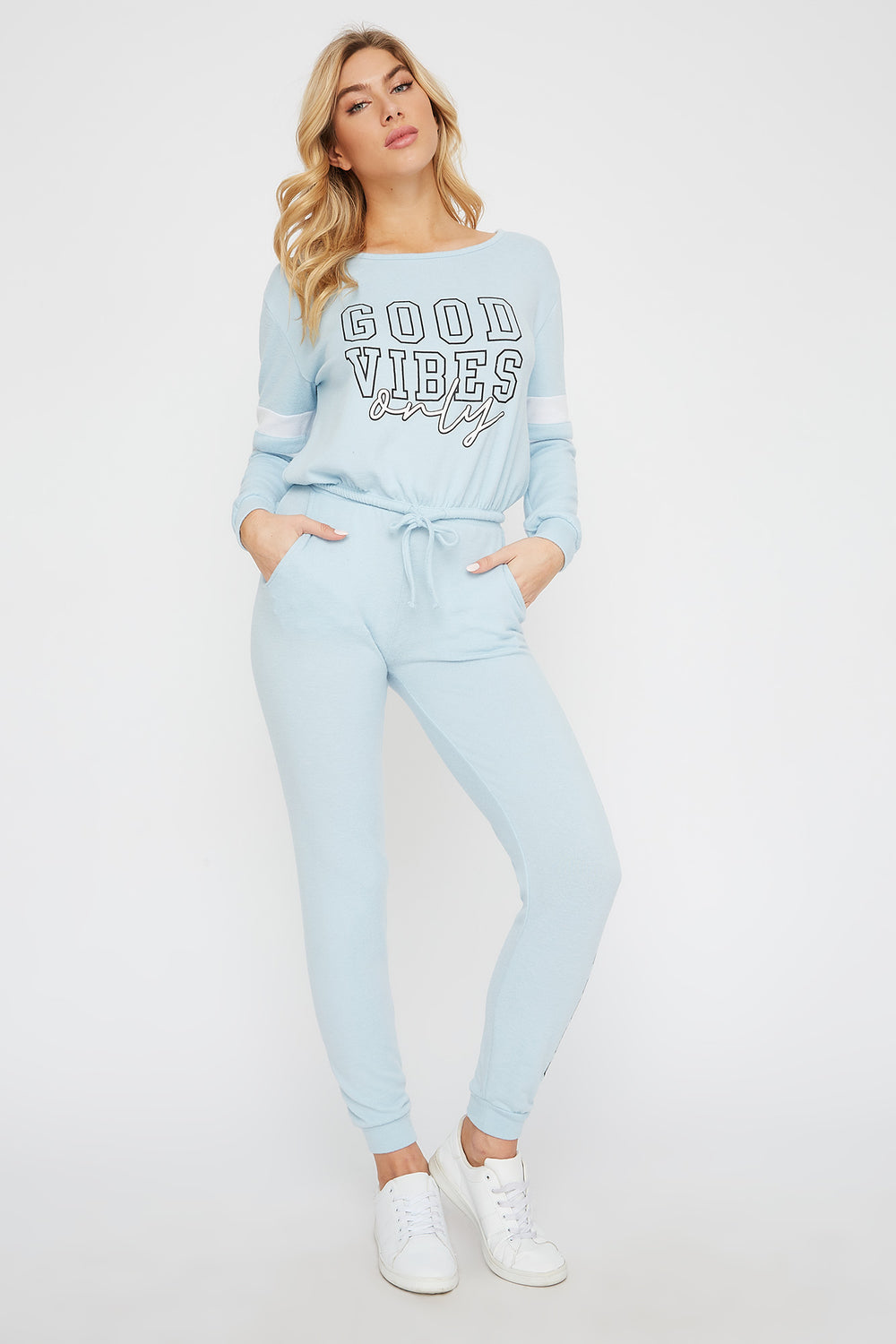 Super Soft Brushed Graphic Jogger Light Blue