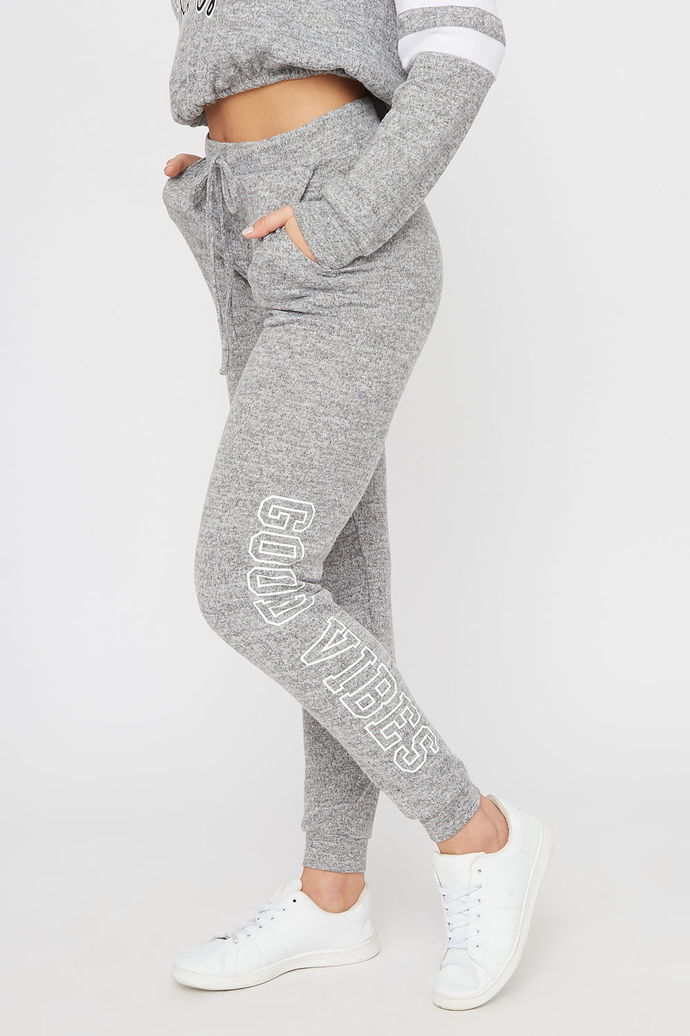 Super Soft Brushed Graphic Jogger Heather Grey