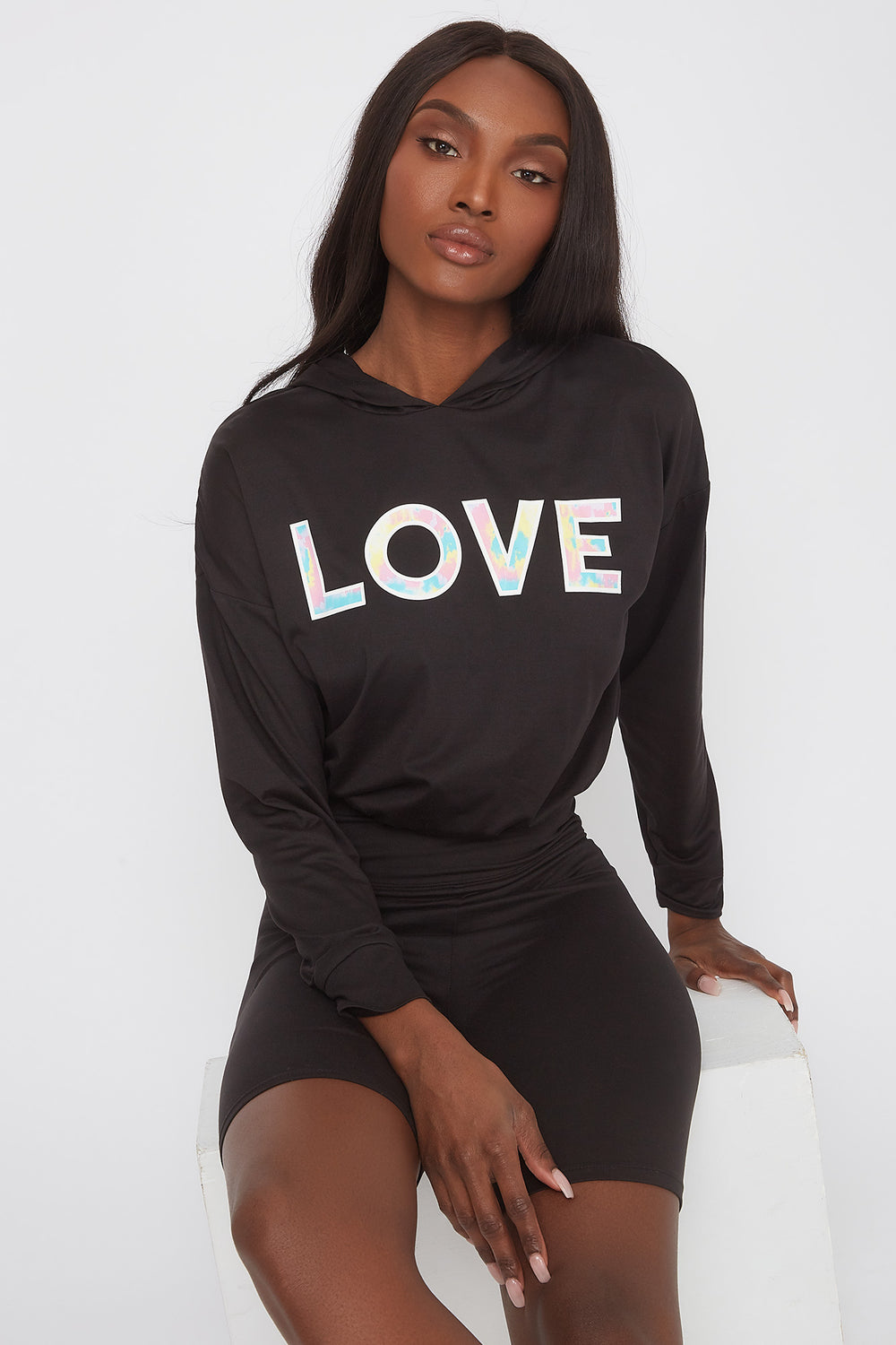 Soft Graphic Cropped Active Hoodie Black