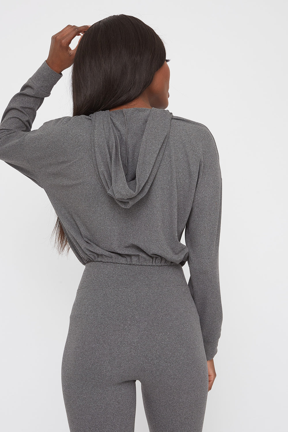 Soft Graphic Cropped Active Hoodie Heather Grey