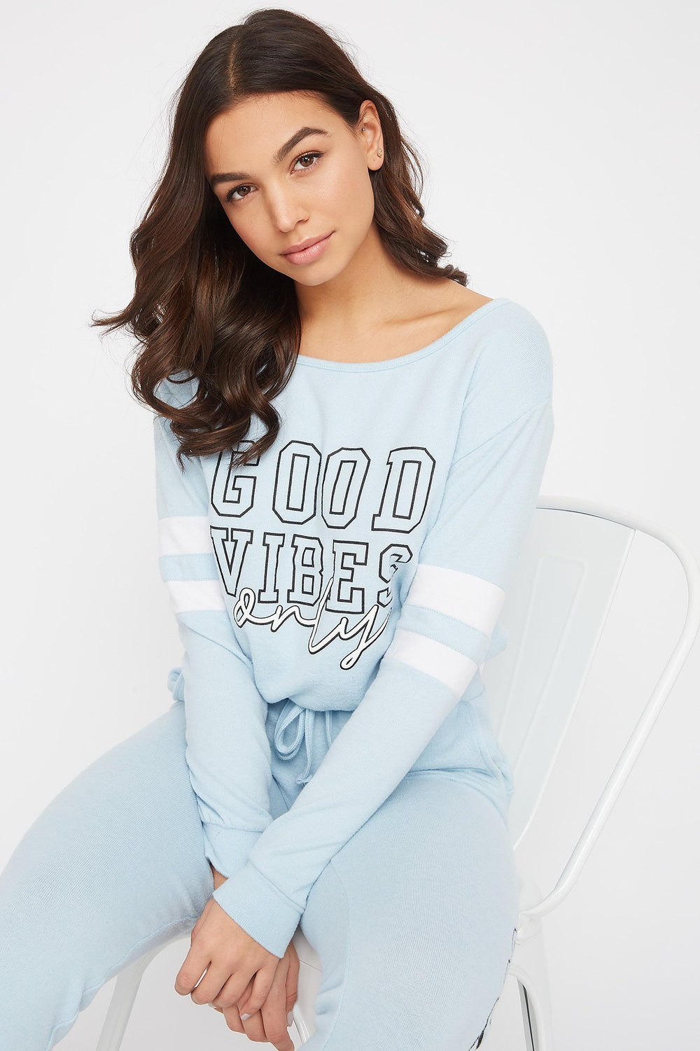 Super Soft Varsity Tie Long Sleeve Light Blue