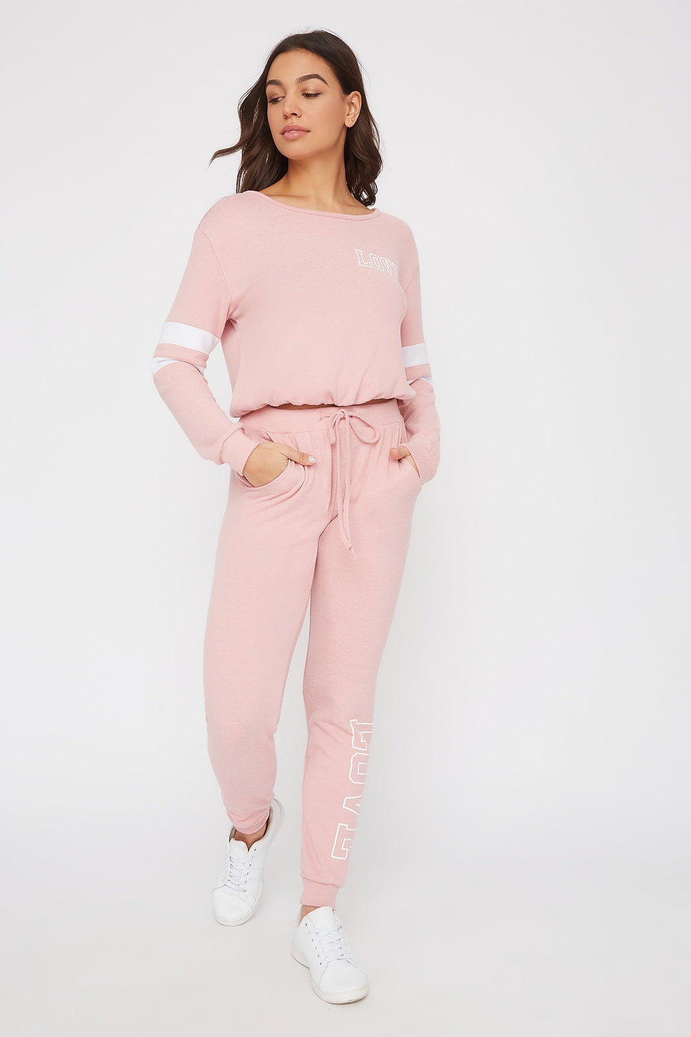 Super Soft Varsity Tie Long Sleeve Light Pink