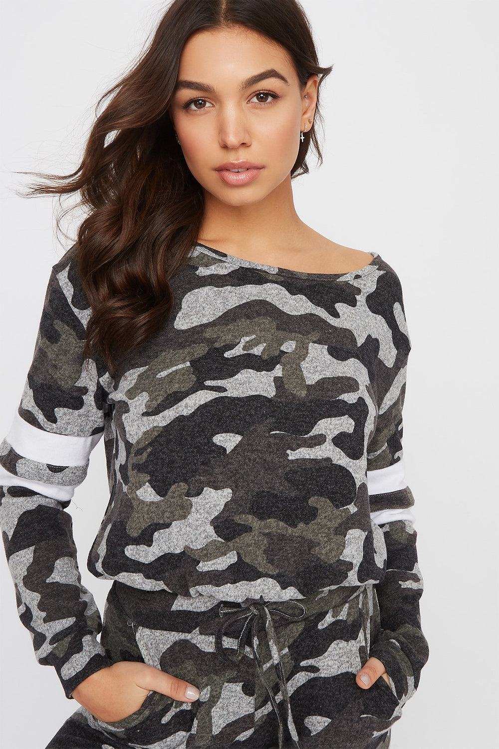 Super Soft Varsity Tie Long Sleeve Camouflage