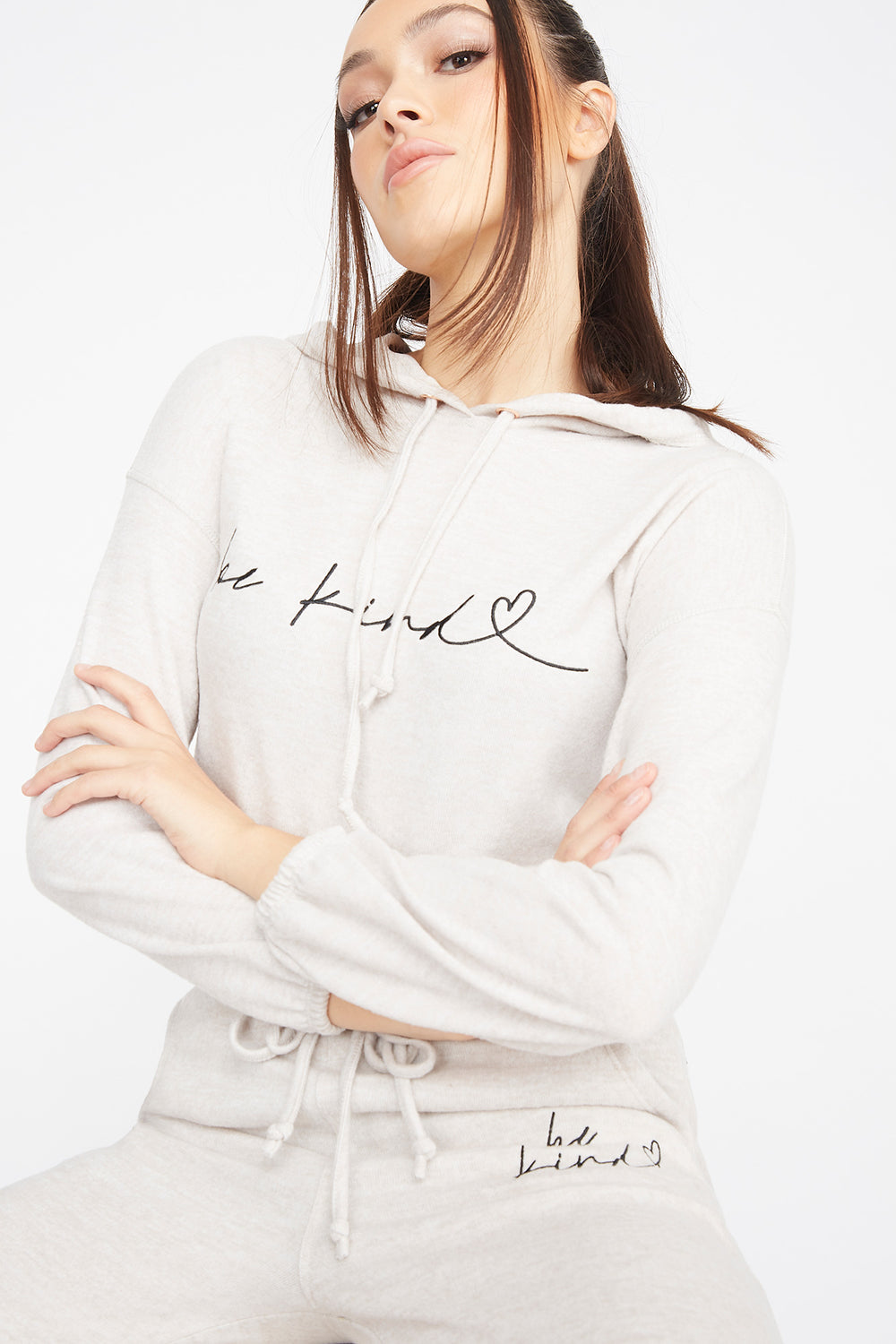 Brushed Graphic Be Kind Cinched Hem Hoodie Oatmeal
