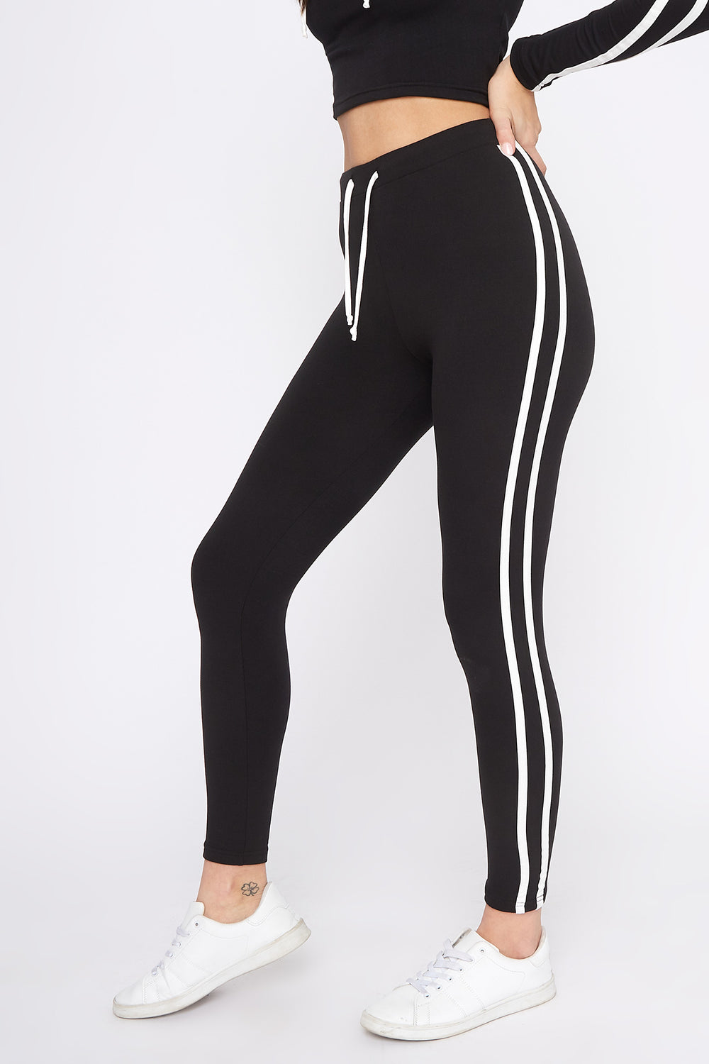 Fleece Side Stripe Legging Black