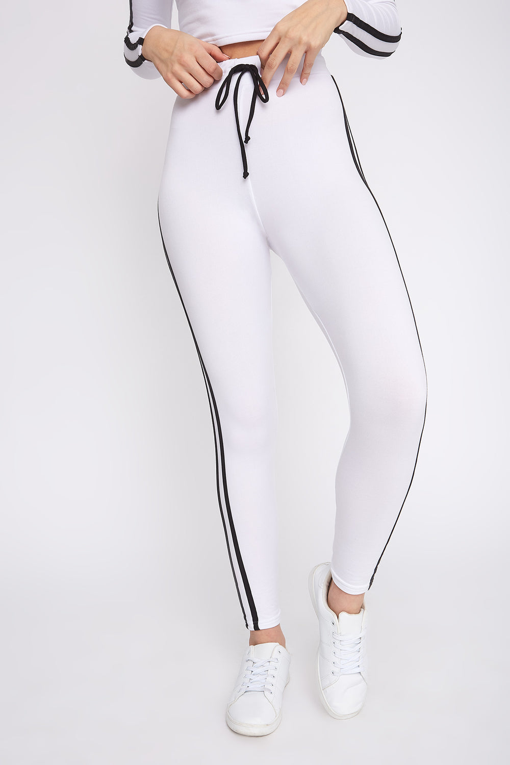 Fleece Side Stripe Legging White