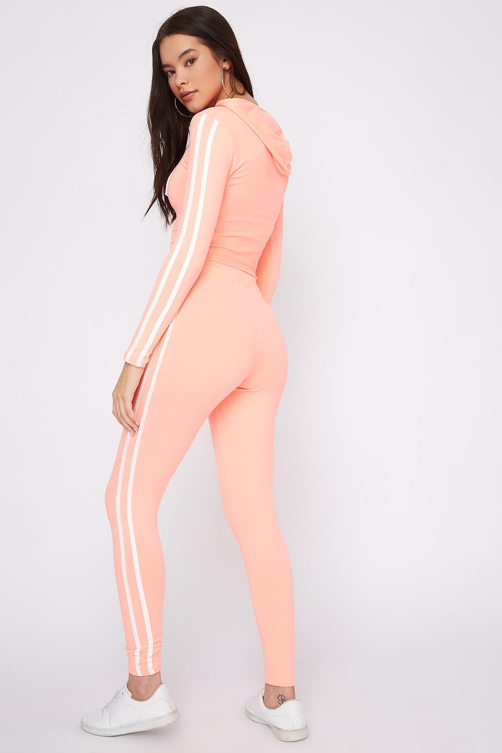 Fleece Side Stripe Legging Neon Pink