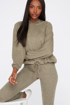 Soft Brushed Hooded Drawcord Sweater
