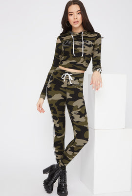 Graphic Rhinestone Side Stripe Legging