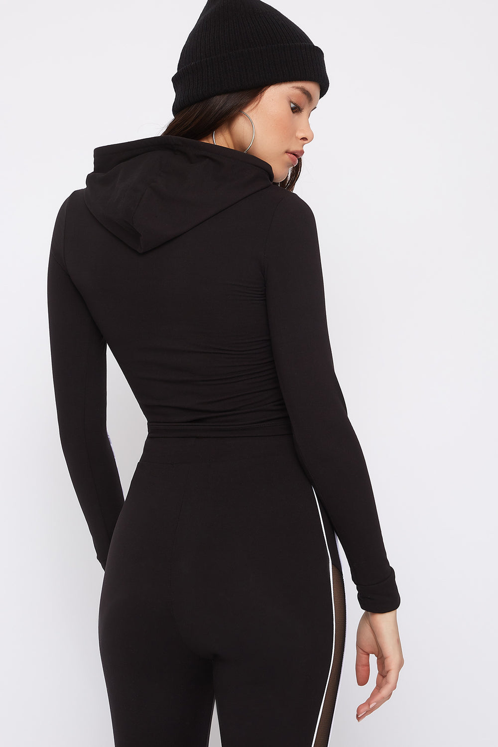 Mesh Cut-Out Hooded Long Sleeve Black