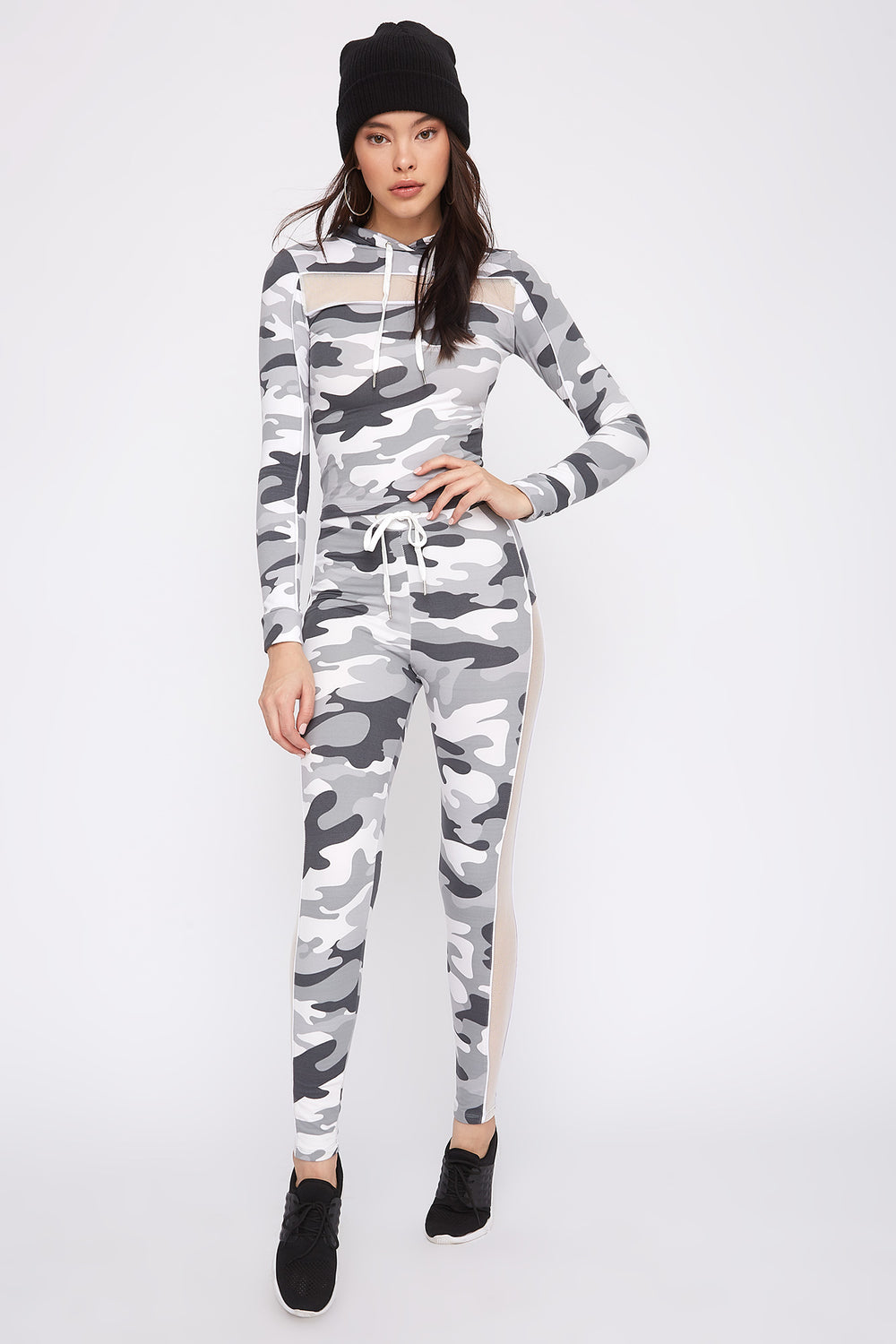 Mesh Cut-Out Hooded Long Sleeve Camouflage