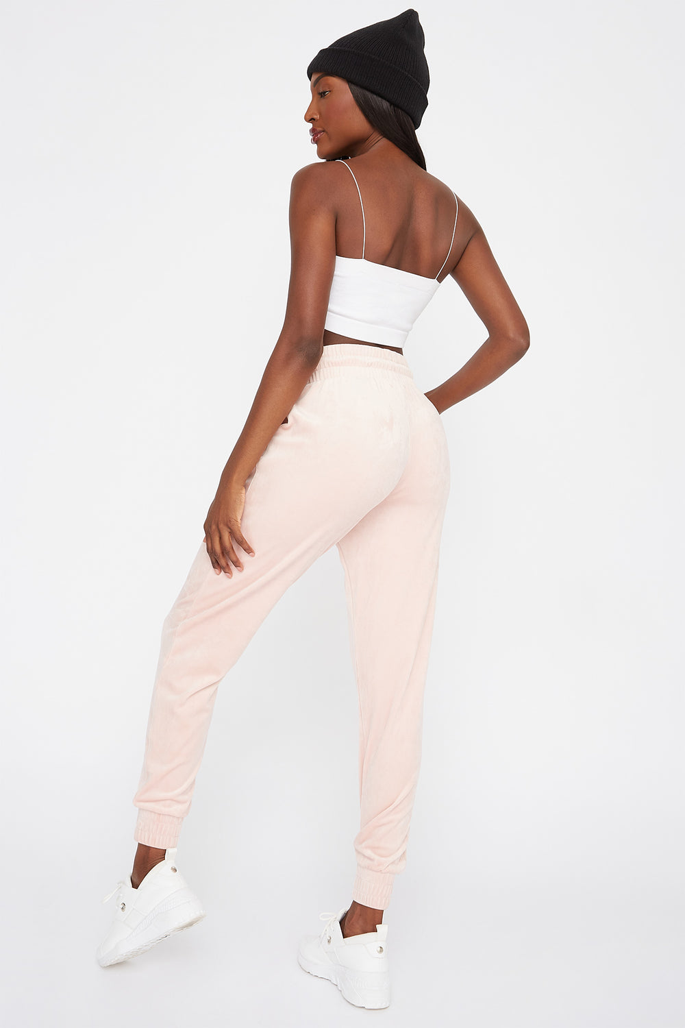 High-Rise Velour Jogger Pink
