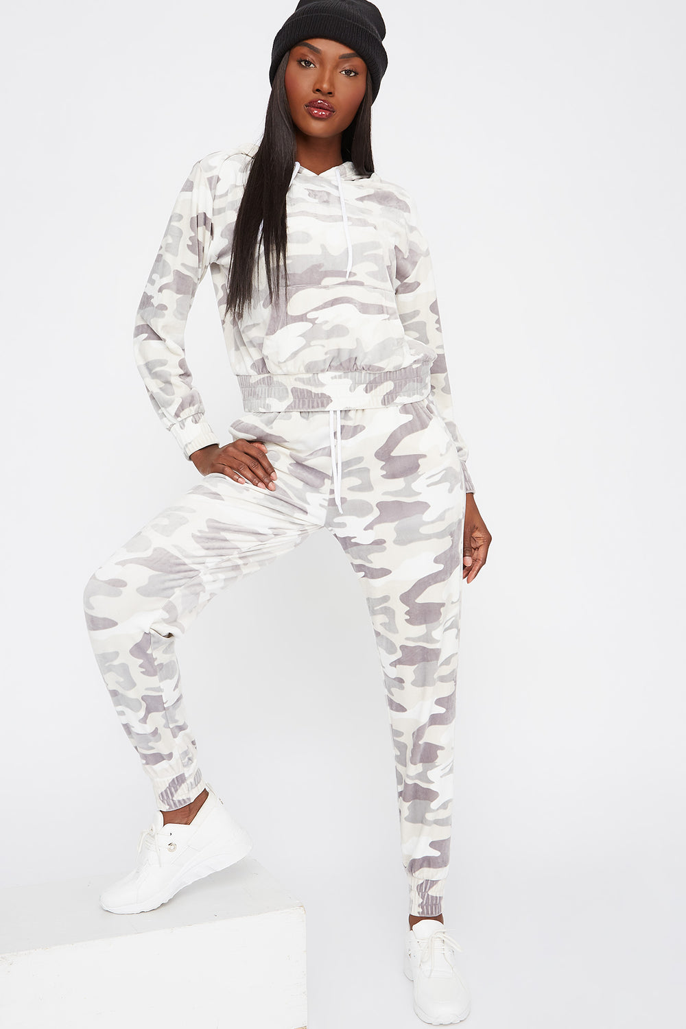 High-Rise Velour Jogger Camouflage