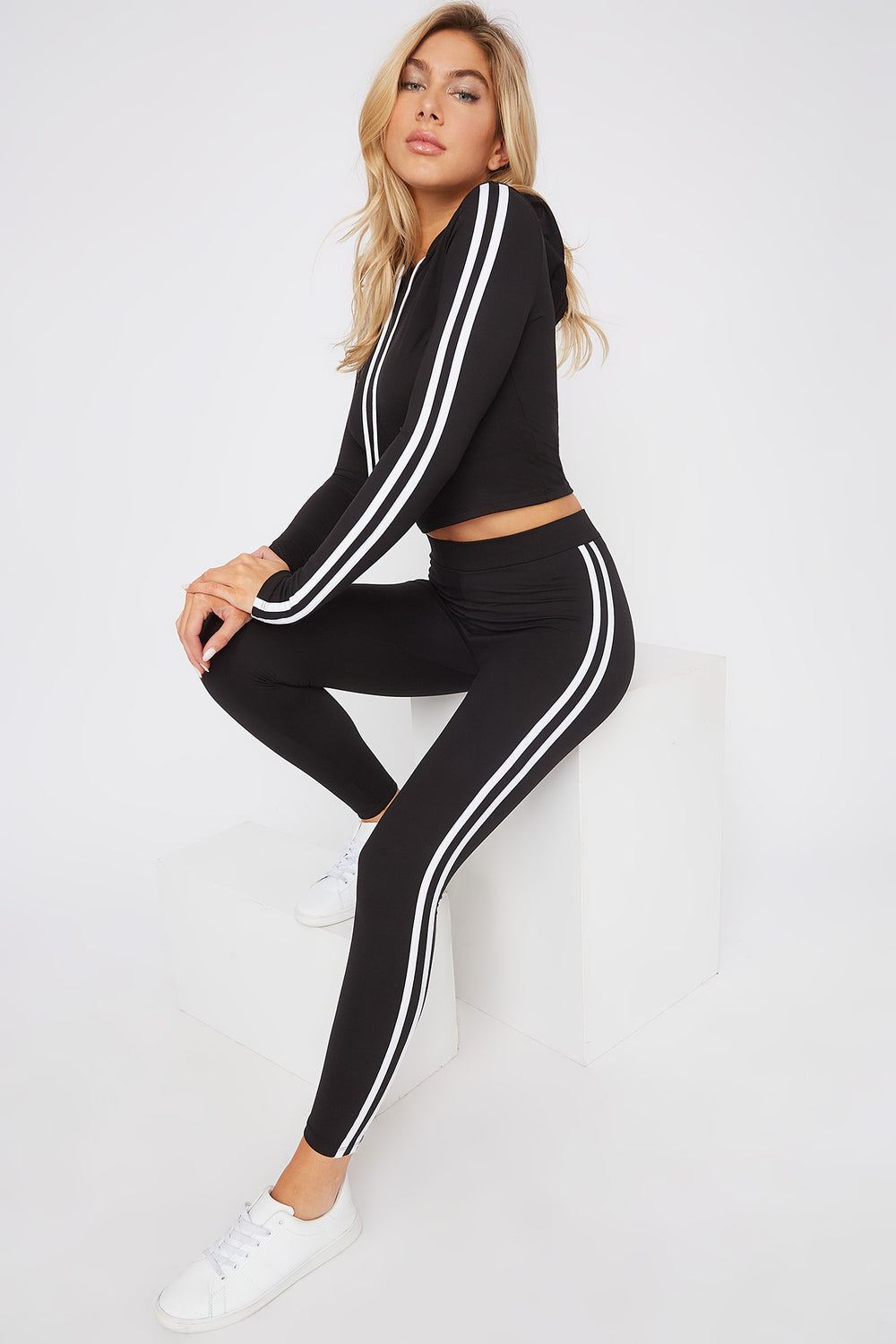 Soft Hooded Side Stripe Long Sleeve Black