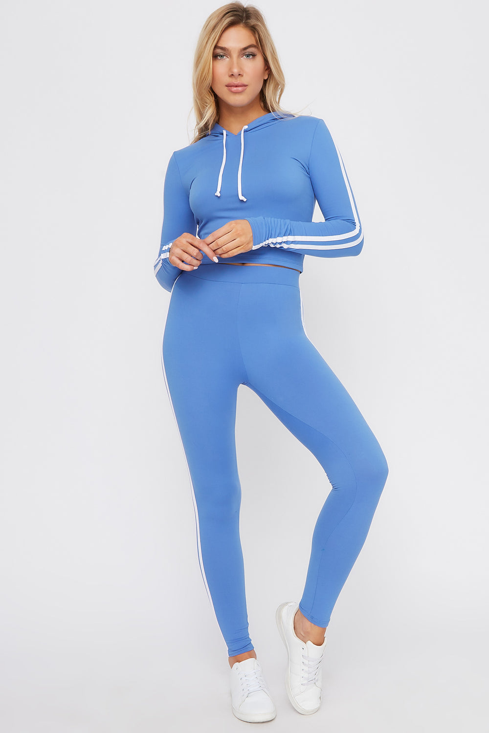 Soft Hooded Side Stripe Long Sleeve Blue