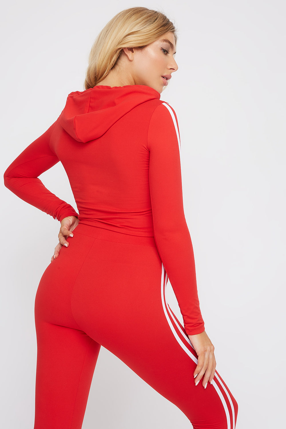 Soft Hooded Side Stripe Long Sleeve Red