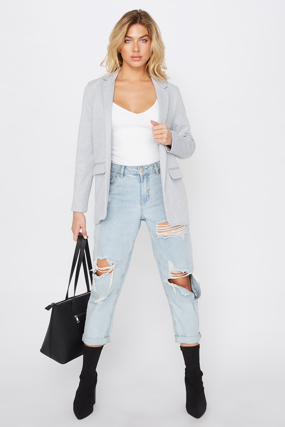 Knit Open-Front Blazer Heather Grey