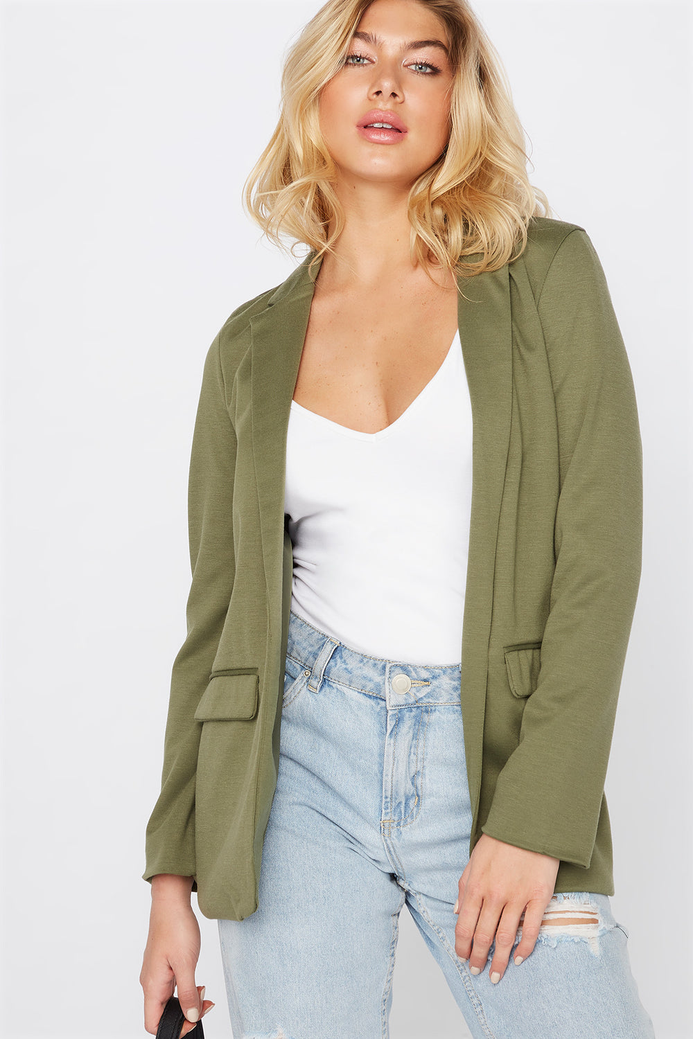 Knit Open-Front Blazer Dark Green