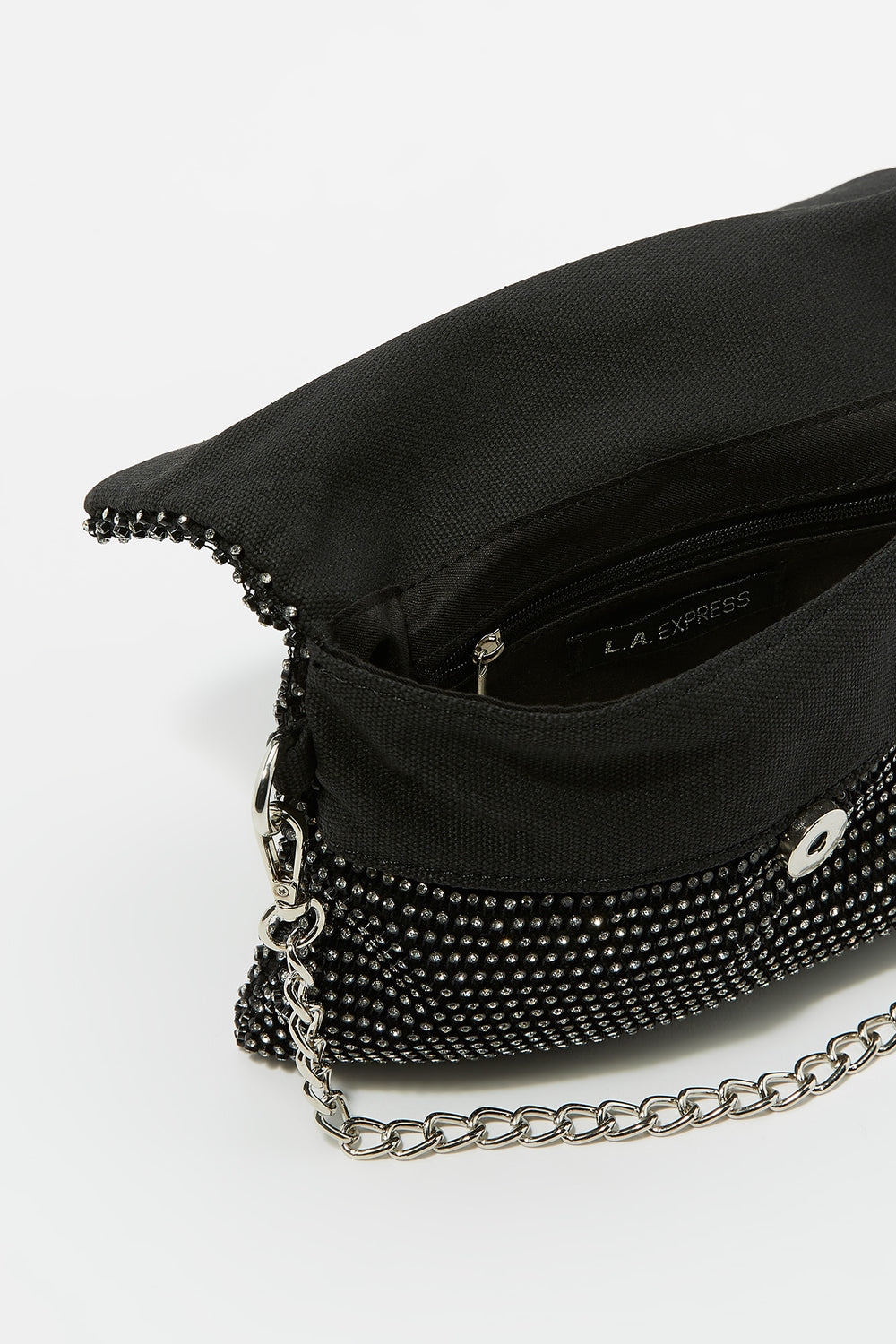 Rhinestone Crossbody Chain Bag Black
