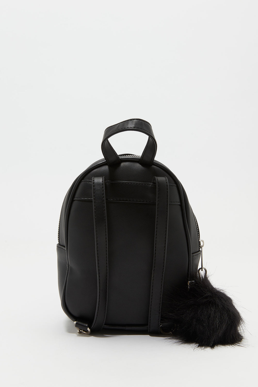 Furry Pom Pom Backpack Black