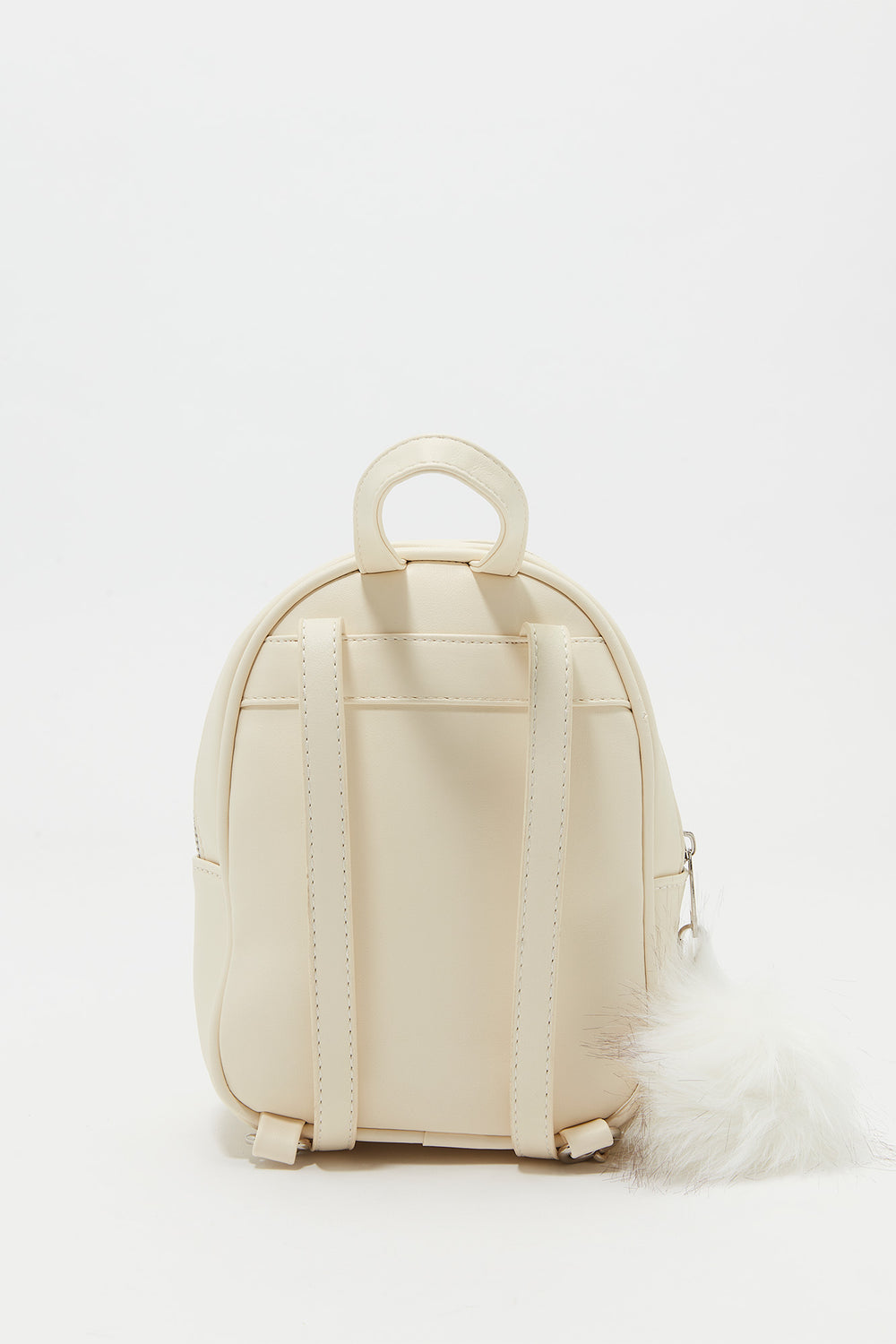 Furry Pom Pom Backpack White
