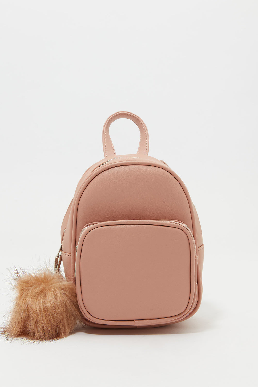Furry Pom Pom Backpack Rose